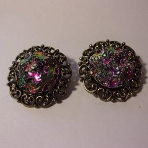 Vintage Judy Lee Purple Button Clip Earrings